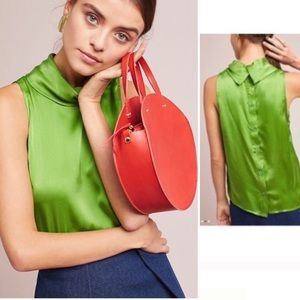 Anthropologie Silk Blouse 00 XS HD Paris Green